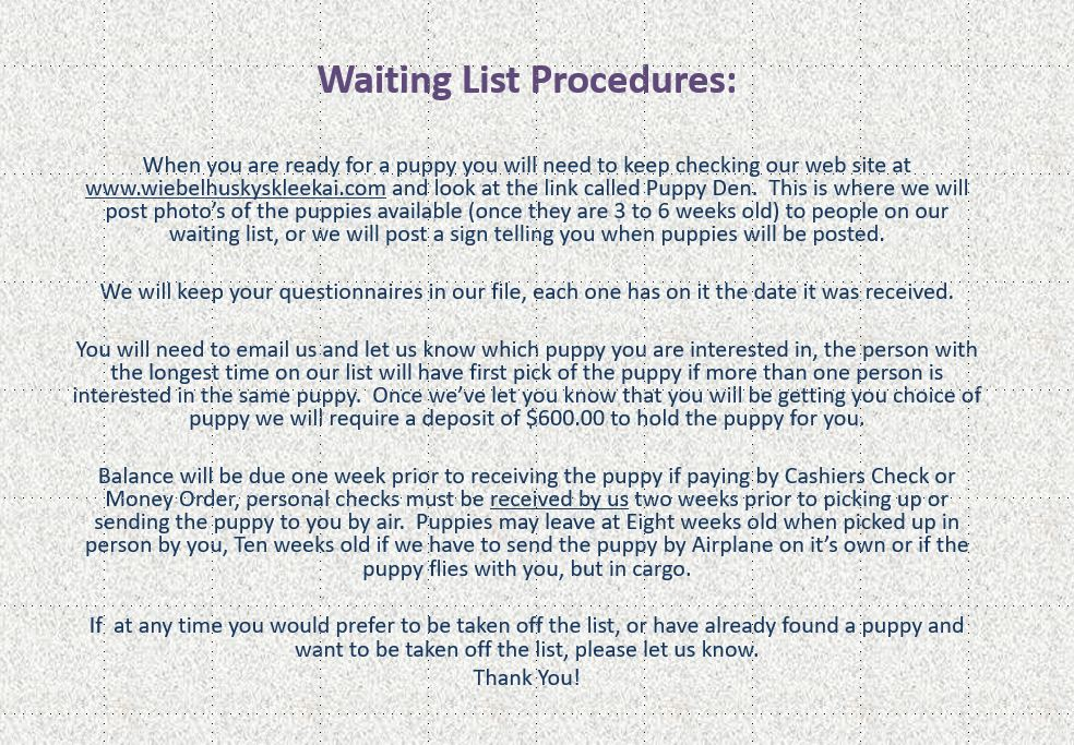 Wait List Procedure